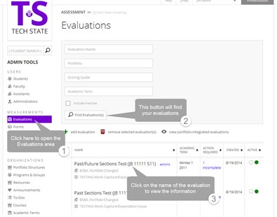 Find Evaluations