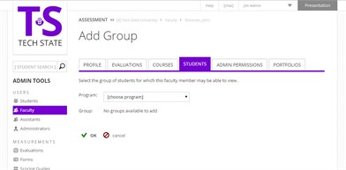 Adding Group Permissions to Faculty