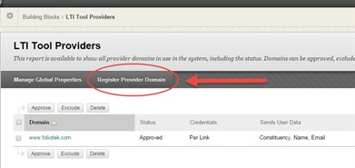Register Provider Domain Button