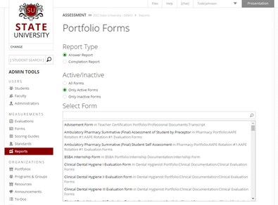 Portfolio Forms Report Options